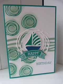 Swirly Bird sailboat birthday card