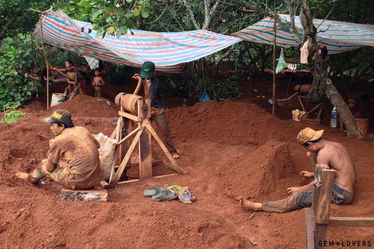 На месторождении среди зарослей деревьев находится большое количество хаотично расположенных шахт. Всего здесь трудится одновременно несколько десятков рабочих. Добыча ведётся весьма примитивным способом, без использования специальной техники или каких-то сложных инструментов. #zircon #mine #cambodia