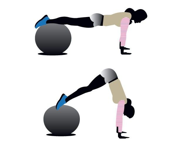 STABILITY BALL PIKE Start with your shins on top of the ball, arms straight, hands shoulder-width apart on the floor (a). Brace your abs and keep your legs straight as you raise your hips toward the ceiling, drawing the ball toward you (b). Pause, then slowly roll back to start That's one rep. Do 10.