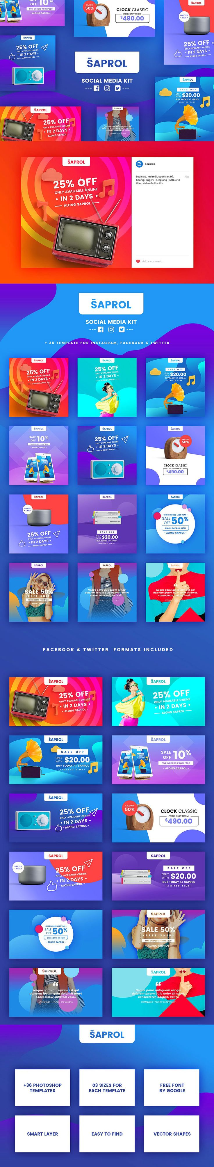 #Freebies : Saprol #SocialMedia Kit a handy tool that would turn your #artwork into engaging promo images for social media. Create stunning posts in a few clicks and stand out with ease using social media templates! #marketing #banners #webdesign #advertisement #fashion #branding #ideas #creative