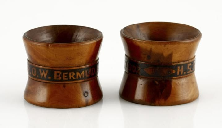 Bermuda Boer P.O.W. Serviette Rings 1902. A pair of matching highly polished pale wood serviette rings, central edge band with the carved inscription, 'H.S.B. - P.O.W. Bermuda 1902'. Bermuda P.O.W. carved items rarely offered for sale.  Sold for R 3 000 (R 3 547)