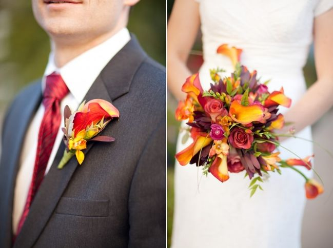 Orange and Purple Wedding Flowers - Photo Courtesy of Ravenberg Photography