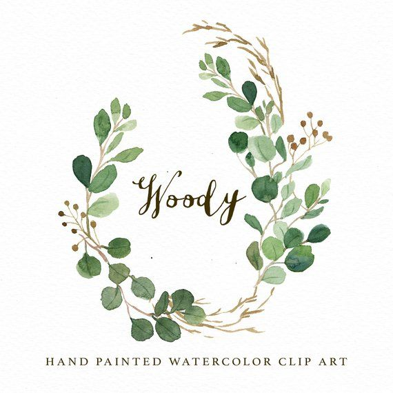 Watercolor Oval Leaf Wreath Clip Art Woody Small Set Individual
