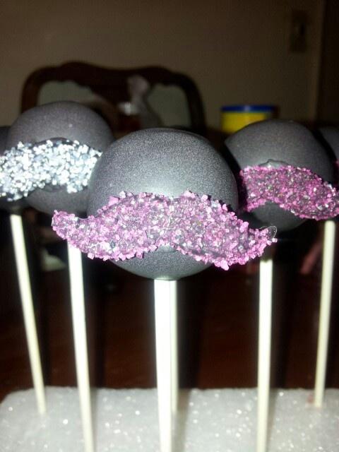 Pink glitter mustache cakepop! #wiltoncontest