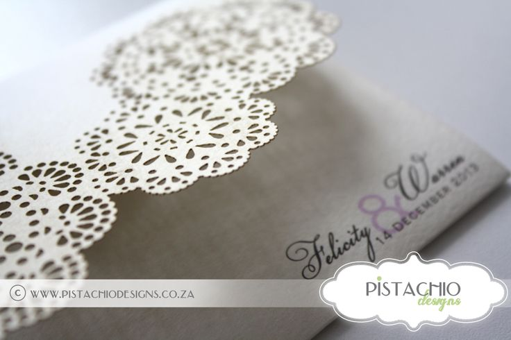Two fold laser cut wedding invitation