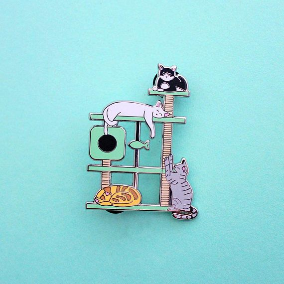 Kitty Paradise Cat Tree Enamel Pin by ClortyCatCrafts on Etsy
