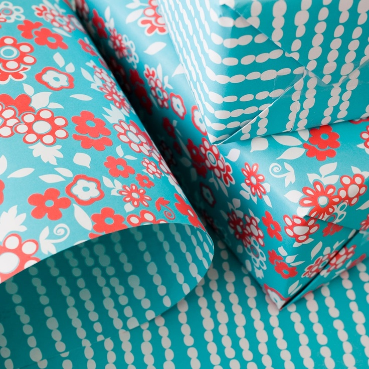 Double-Sided Pearl Gift Wrap - love these colors