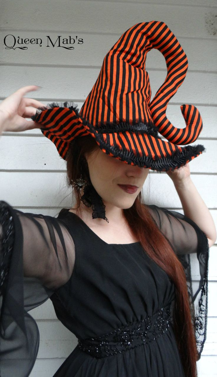 Black and Orange Whimsical Halloween Witch Hat by QueenMabStore
