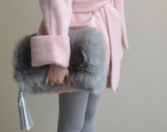 Gray Faux Fur Fold Over Clutch                                                                                                                                                                                 More