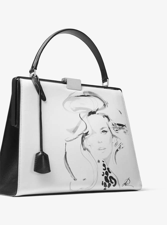653e52e7e5ff Michael Kors Simone Portrait Print Calf Leather Top-Handle Bag