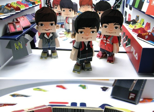 Artist: 1000day Title: FILA Paper toys Tools: paper x digital work Featured: commercial collaboration with FILA Korea