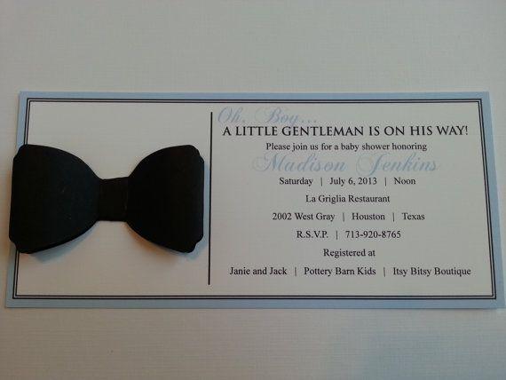 Little Gentleman Bowtie Baby Shower Invitation by stampandseal