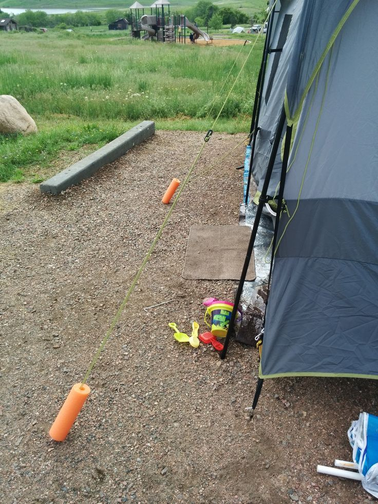 Our favorite camping hack! Pool noodles used to mark tent lines... there was no…