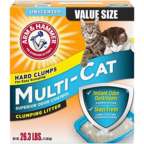 Arm & Hammer Multi-Cat Litter, Unscented, 26.3 Lbs (Packaging May Vary) - Arm & Hammer™ Unscented Extra Strength Multi-Cat Clumping Litter Value Size.Destroys ammonia odors instantlyThe standard of purity.Superior odor control.Advanced odor eliminators.