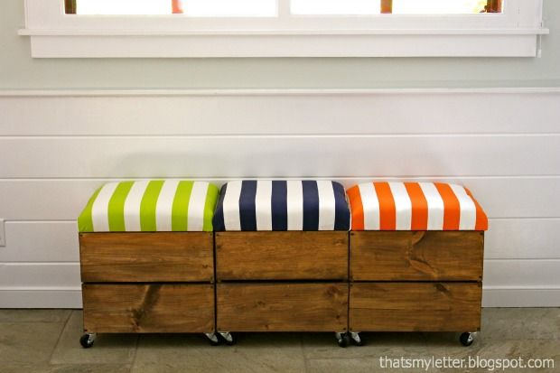 Roll with it: how to build an adorable #DIY storage seat on wheels from #reused materials.