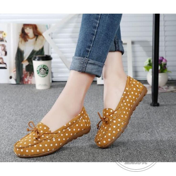 (41.21$)  Watch more here - http://aivhu.worlditems.win/all/product.php?id=32736861443 - Polka Dot Suede Soft Soled Polka Dot Peas Shoes Plain Women Shoes Delicate Work Joker Matte Woman Flats
