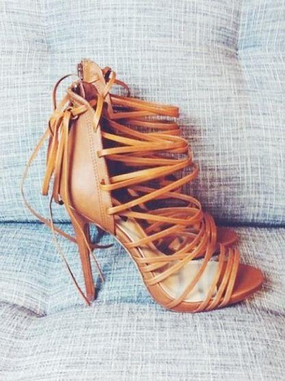 Cognac strap heels