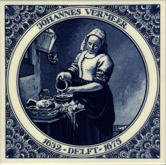 Delftware tile - blue - vermeer, the milk maid