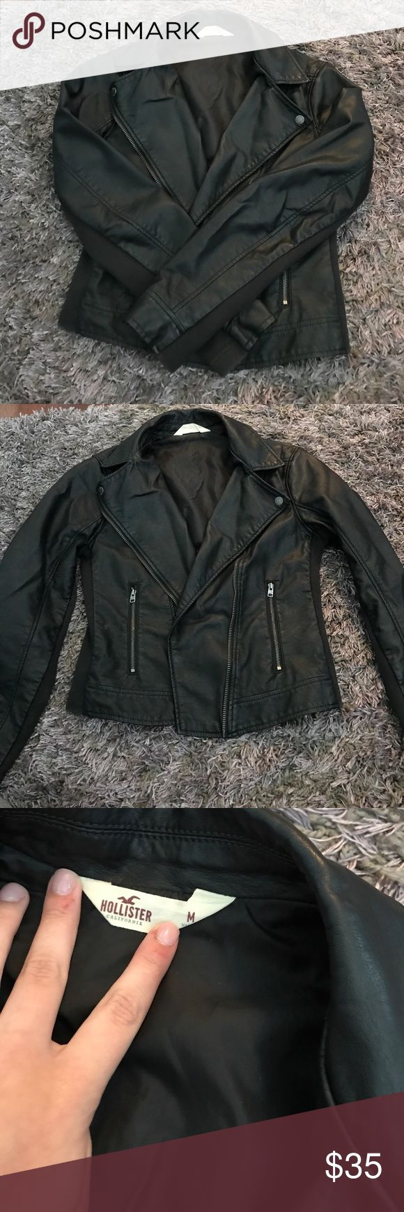 Hollis tee Faux leather jacket Black faux leather jacket Hollister Jackets & Coats