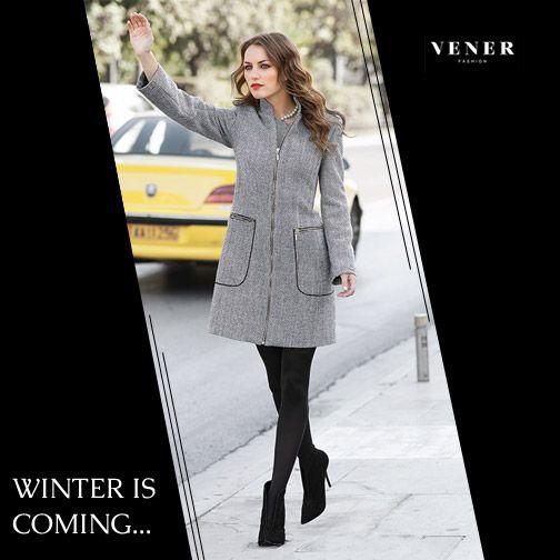 Grey VENER Zip - Up Coat!  www.vener.gr #winter #coat #greycoat #zipcoat