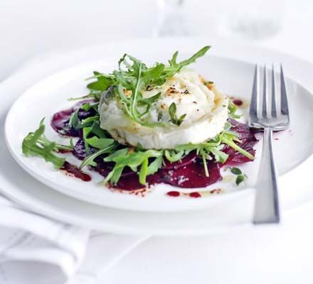 Marinated beetroot with grilled goat's cheese only 293 calories for this meal.  Get the recipe at: http://www.bbcgoodfood.com/recipes/711660/marinated-beetroot-with-grilled-goats-cheese
