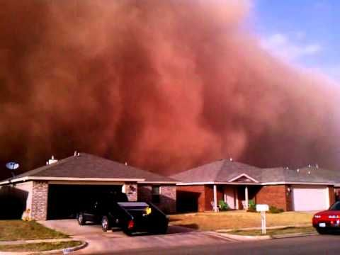 Posted at 10:01 AM ET, 10/18/2011  Texas dust storm, biggest in U.S. in decades, turns sky red and black (videos)  I've lived in Lubbock and experienced my share of these.  Not pleasant.