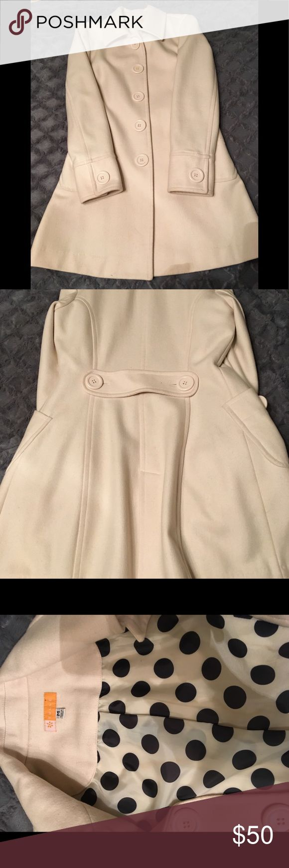 Tulle cream long dress coat size M Tulle cream long dress coat size M five button closure. Shell 60% wool 40% viscose Lining 100% polyester Machine Wash Cold or dry clean. Tulle Jackets & Coats Pea Coats