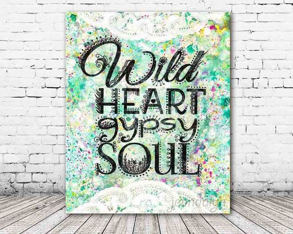 ON SALE 20% OFF Wild Heart, Gypsy Soul - stretched canvas print, typographic print, bohemian art, girls room decor, boho chic wall art
