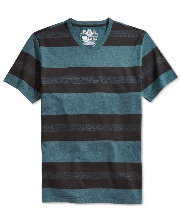 American Rag Men's Wide-Stripe V-Neck T-Shirt, Only at Macy's