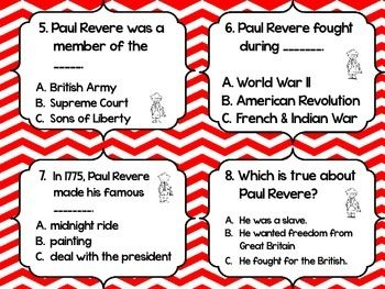 PAUL REVERE TASK CARDS - TeachersPayTeachers.com