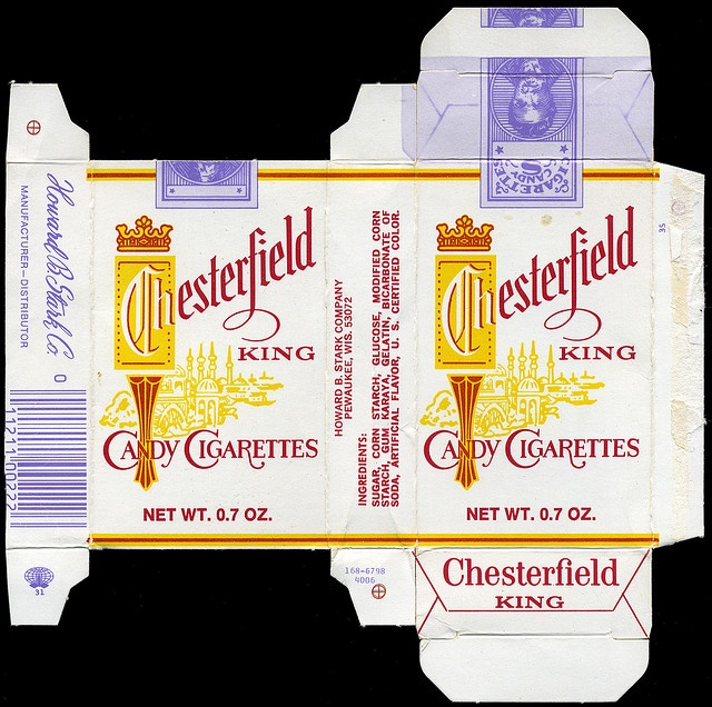 Stark - Chesterfield King Candy Cigarettes box - 1970's by JasonLiebig, via Flickr