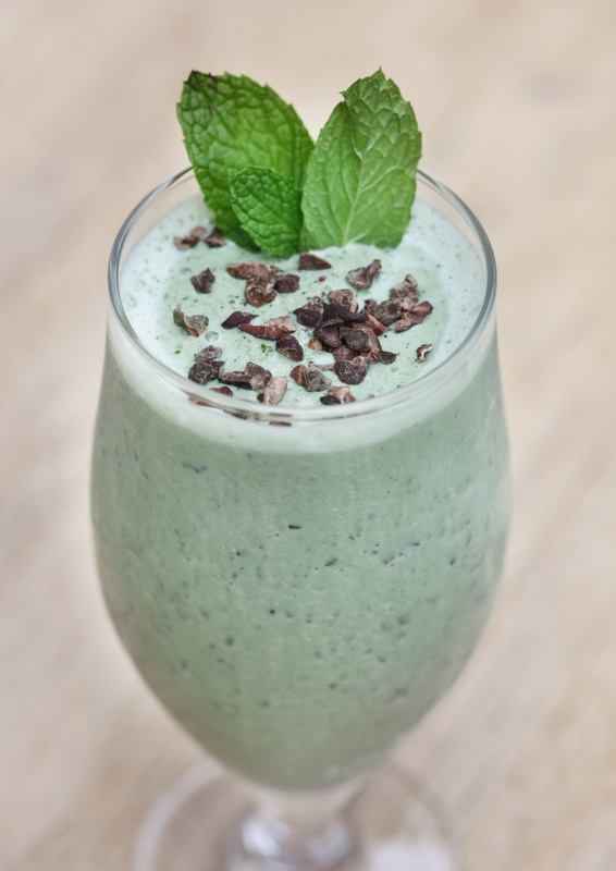 "Cafe Gratitude's ""I AM COOL"": Mint chocolate chip milkshake with Vitamineral green and raw cacao nibs. YUM!"