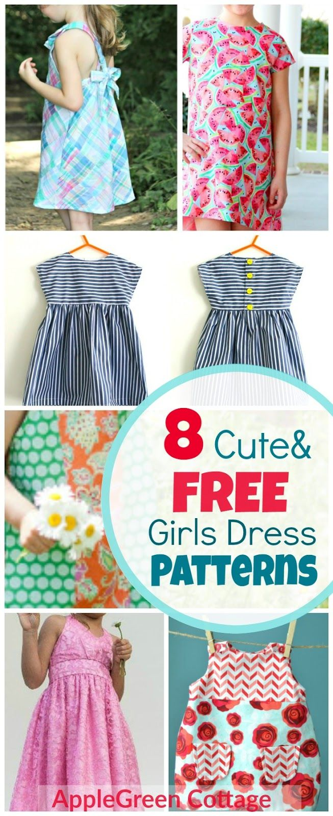 8 free patterns for cute girls dresses. Great beginner sewing projects (because there's always a tutorial added to the free pattern, yey!) Can you imagine anything cuter than a little girl's smile when twirling in an adorable summer dress?