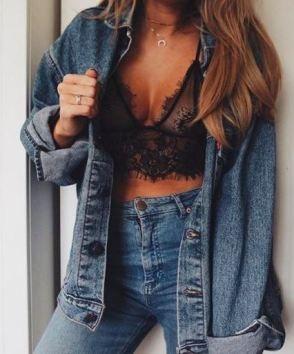 Lace bralettes under a denim jacket is super cute!