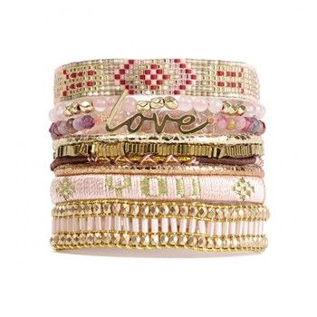 Love - Bracelet manchette - rose - Hipanema - Ref: 1611571 | Brandalley