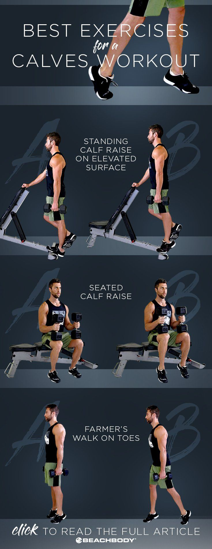 Start building bigger calf muscles with this calves workout at home. The list of exercises and stretches will help you get on your way to building stronger, more defined calf muscles. Beachbody Blog // #calfworkouts #athomeworkouts #beachbody #fitnesstips