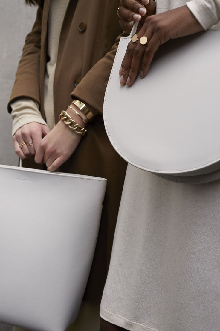 Anya and Bobola are wearing The Stowe Bags in Clay for ZANE FW17 (Rings: Melanie Auld, Bracelets: Jenny Bird)