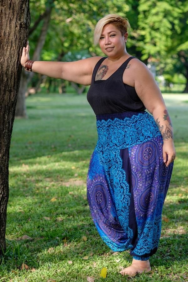 Plus Size Turquoise Blossom Pants in 2019 | Plus size harem ...