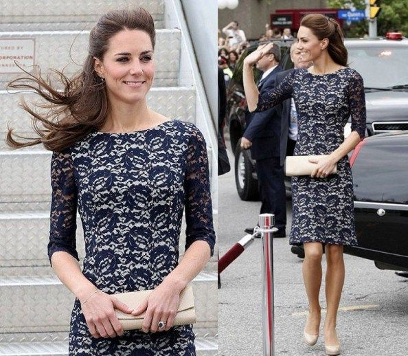 Kate Middleton | erdem navy lace dress