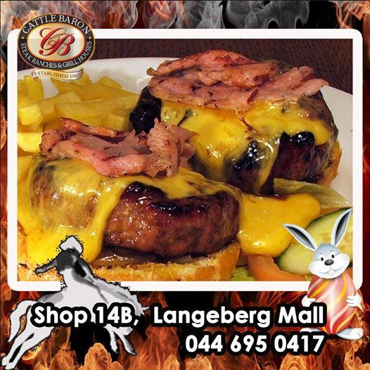 What better way to give your hunger a knockout out punch, than with the Two fisted Jackson Burger from the Cattle Baron Mossel Bay. Cheese, bacon and burger patties times 2 served with a side of chips. A good reason to get out and come on down. #steakhouse #burgers #cuisine