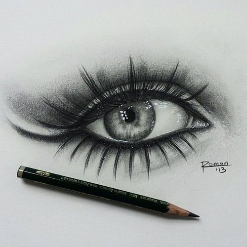 really cool eye drawing. liked how they included the worn pencil in the pic