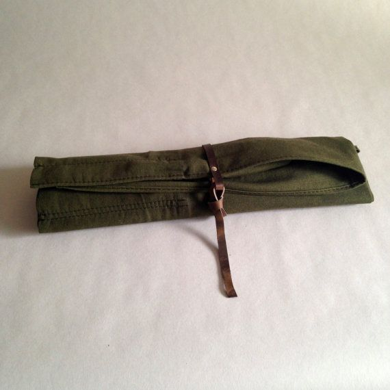 Knife Roll Waxed Canvas Army Green with Oiled by HaversackLeather