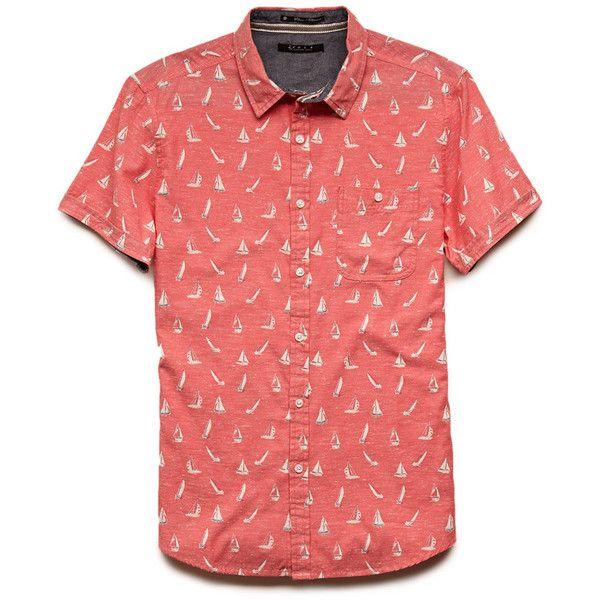 Forever 21 Men's  Sailboat Print Shirt ($20) ❤ liked on Polyvore featuring men's…