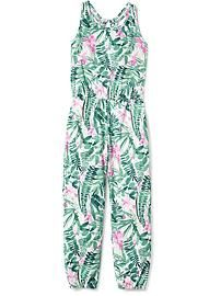 Tropical-Print Jersey Jumpsuit for Girls