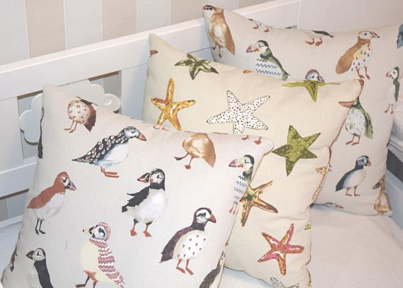 Puffin Pillow Cover, Starfish Pillow Case, Beach Pillow, Kids Throw Pillow Set, Boys Pillow, Throw Pillow Case Cover, Pillow Covers 16x16