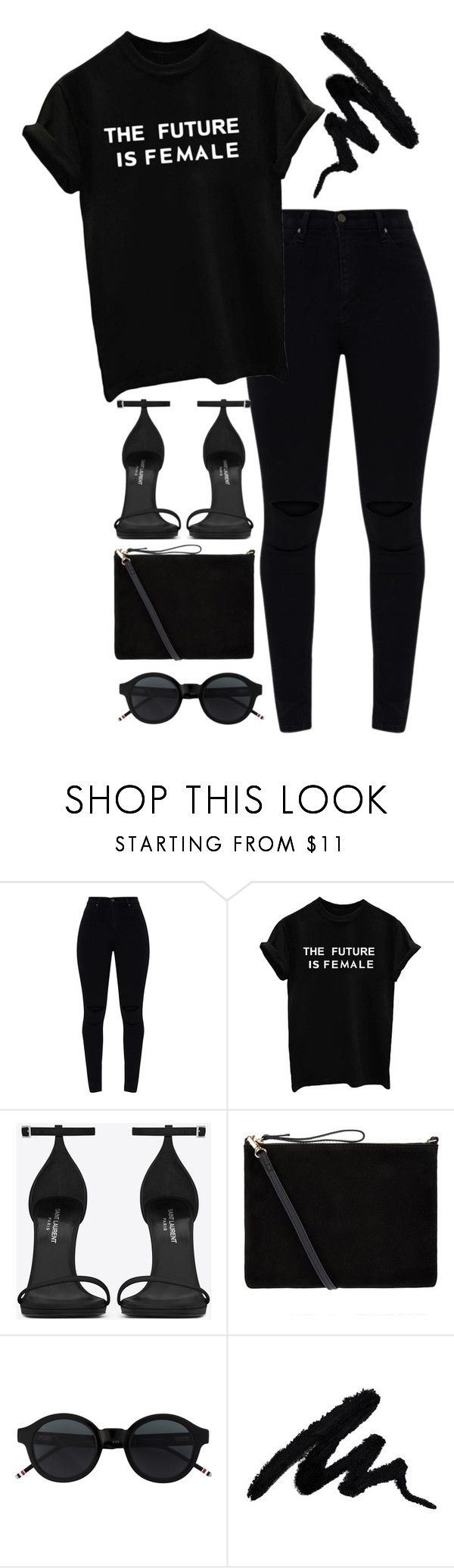 """ABO"" by melaniemeran ❤ liked on Polyvore featuring Yves Saint Laurent, Accessorize and allblackoutfit"