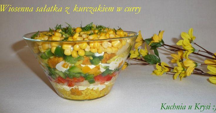 Sałatka z kurczakiem w curry, pyszna wiosenna sałatka, sałatka warstwowa, Kuchnia u Krysi