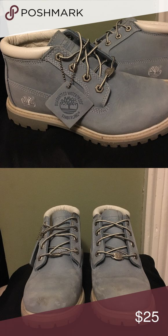 Ladies Timberland boots Baby blue boots. A couple scuffs but very lightly worn. Timberland Shoes Ankle Boots & Booties