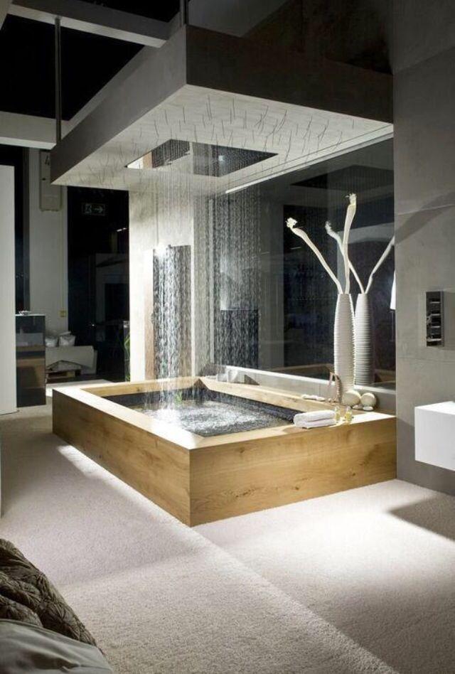 Rainfall shower and bath tub