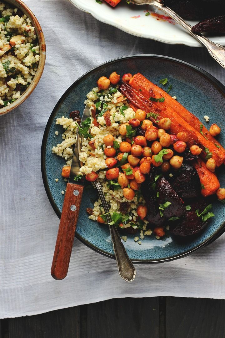 harissa roasted roots with crispy chickpeas + millet pilaf ⎮ happy hearted kitchen